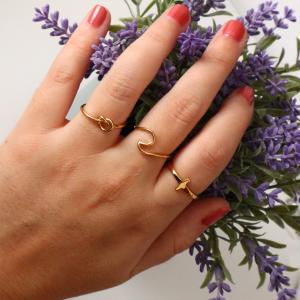 anillo ola dorado