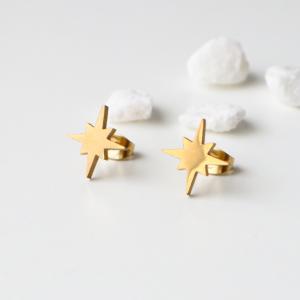 pendientes edelweiss dorados